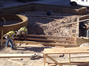 forming the steps for the fountain area